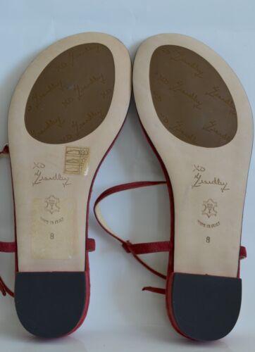 $345 New Womens Marchez Vous Vivienne Red Open Toe Suede Slingback Sandals 7-8.5