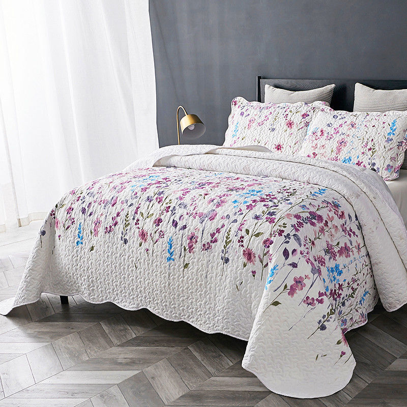 BEAUTIFUL SOFT PURPLE purpleC LAVENDER AQUA blueE WHITE FLORAL COTTAGE QUILT SET