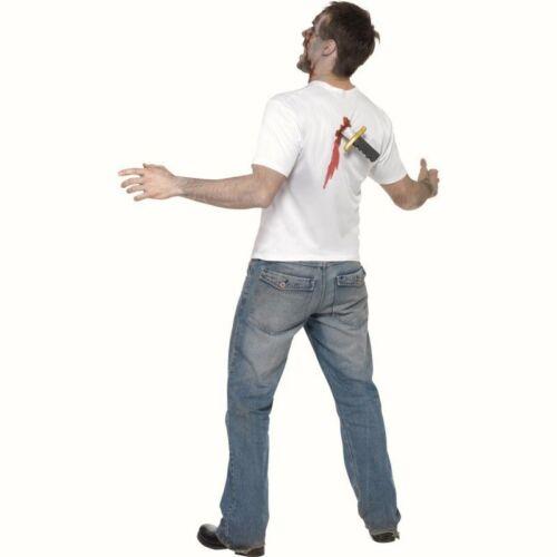 Poignardé dans le dos T-Shirt blanc Top Adultes Costume Déguisement Halloween scream
