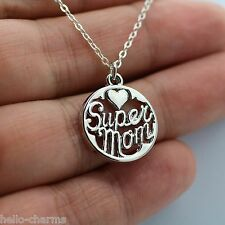 Silver Super Mom Charm Necklace - Heart Love Mom Family Mother's Day Nana *NEW*
