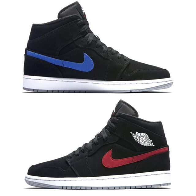 AUTHENTIC NIKE Air Jordan 1 Retro Mid Black Red Royal Blue 554724 065 Men  size d30d460a5