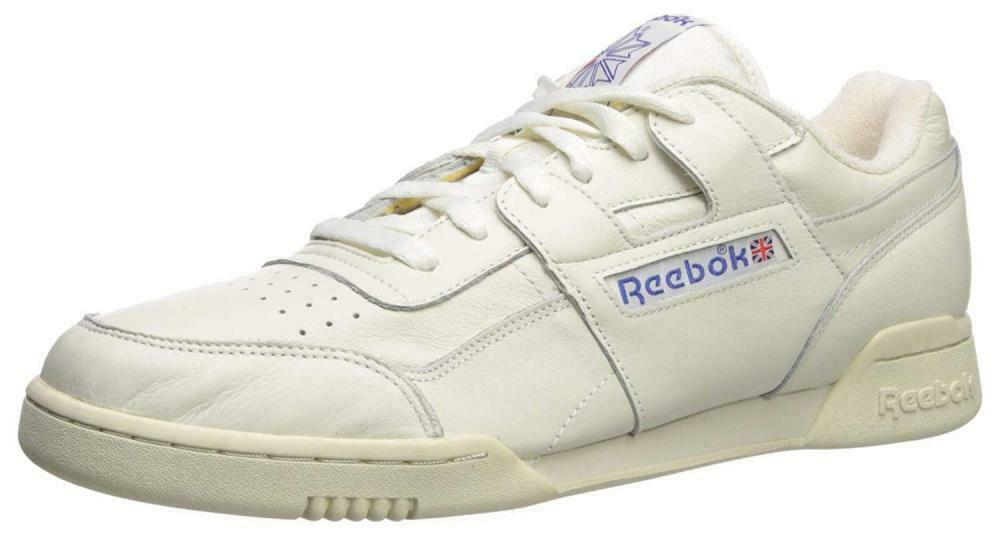 Reebok Men's Workout Plus Sneaker, Chalk Paper White Royal, 10.5 M US