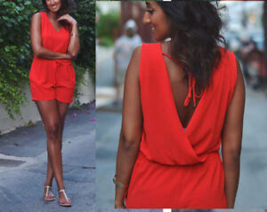 ZARA-RED-OPEN-BACK-PLAYSUIT-TOP-SIZE-L