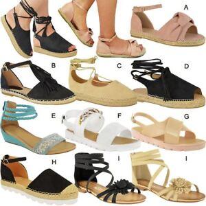 Image is loading Womens-Ladies-Kids-Flat-Sandals-Casual-Summer-Espadrille- 98b6f093e8