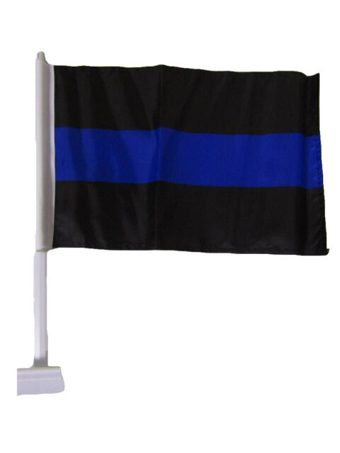 """12x18 Police Thin Blue Line Rough Tex Knit Double Sided 12/""""x18/"""" Car Vehicle Flag"""