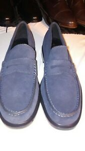 77fa551fe65 Coach Men s Shoes Navy Blue Suede Claremont Penny Loafers G1128 SIZE ...