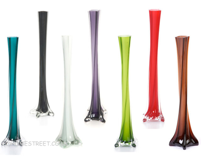 Quality Glass Lily Vases With Twist Design - 40cm Vase - Choose Your Colour