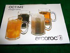 Vintage NIB Set of 4 Octime Arcoroc Glass Mugs Verrerie Cristallerie