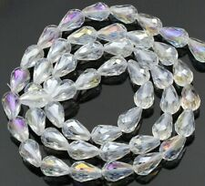 4 different Col #12 Transparent Faceted  Teardrop Beads 10x19mm