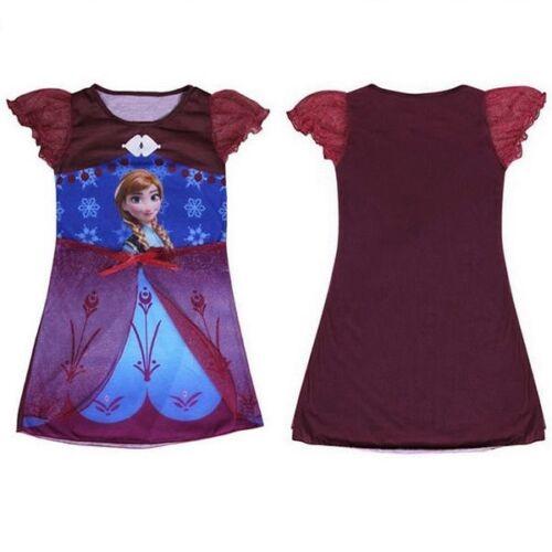 Frozen Notte Abito Camicia da notte Vacanza Abito Elsa Anna Bambini Ragazza Bambini Blu Rosso