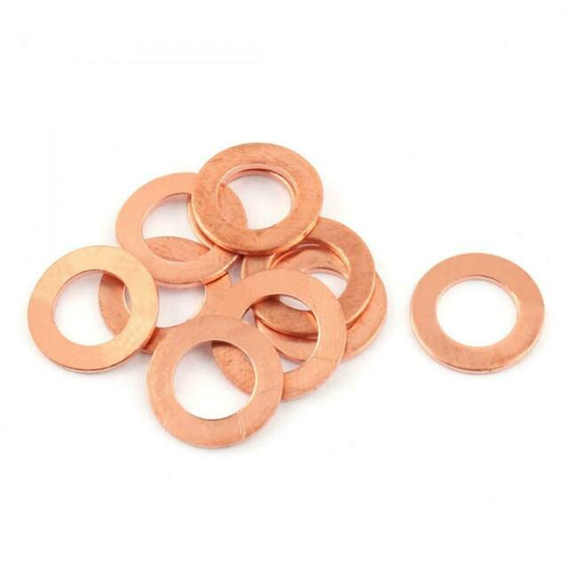 uxcell 10pcs 8mm X 14mm X 1mm Flat Ring Copper Crush Washer Sealing Gasket for sale online