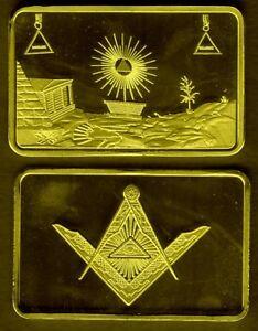 JOLI LINGOT PLAQUé OR FRANC MACON MACONNERIE (T.1) - France - MAGNIFIQUE LINGOT EN PLAQUE OR REPRESENTANT LA FRANC MACONNERIE ET SES SYMBOLES En Parfait état, ce lingot sous capsule plastifiée mesure 44mm28mm3mm Plaqué or / gold plated ALLEZ VOIR MES AUTRES VENTES DANS MA BOUTIQUE : DE TOUT, LINGOTS, MON - France