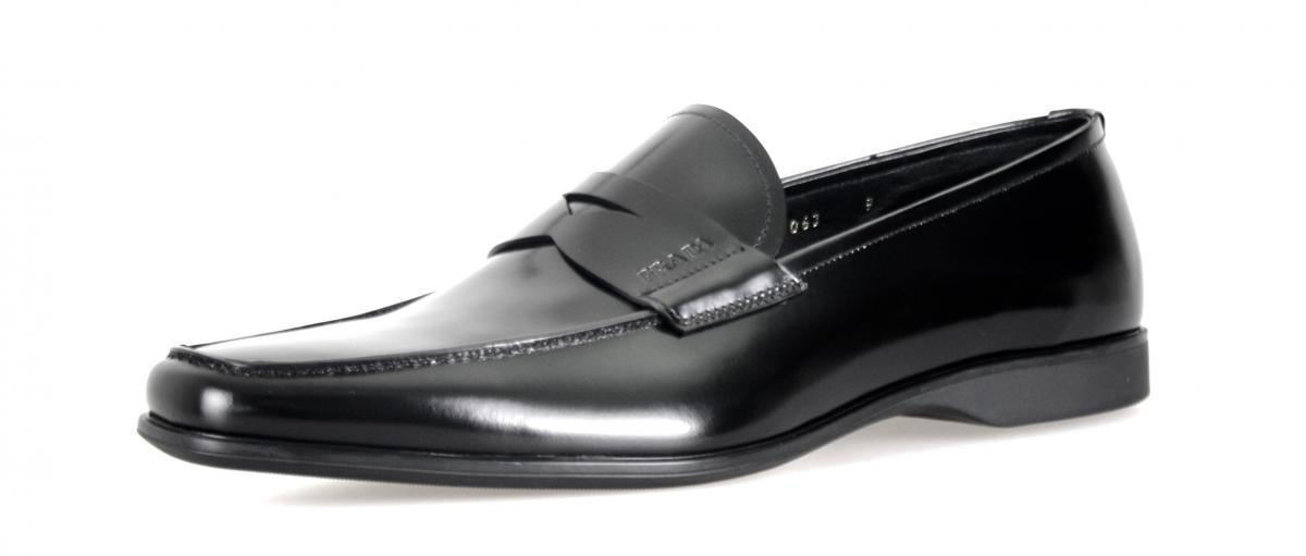 Luxury Prada Business Scarpe Penny Mocassino 2de063 NERO NUOVE 9 43 43,5