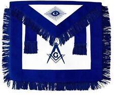 MASONIC MASTER MASON APRON BLUE WITH FRINGE HAND EMBROIDERED