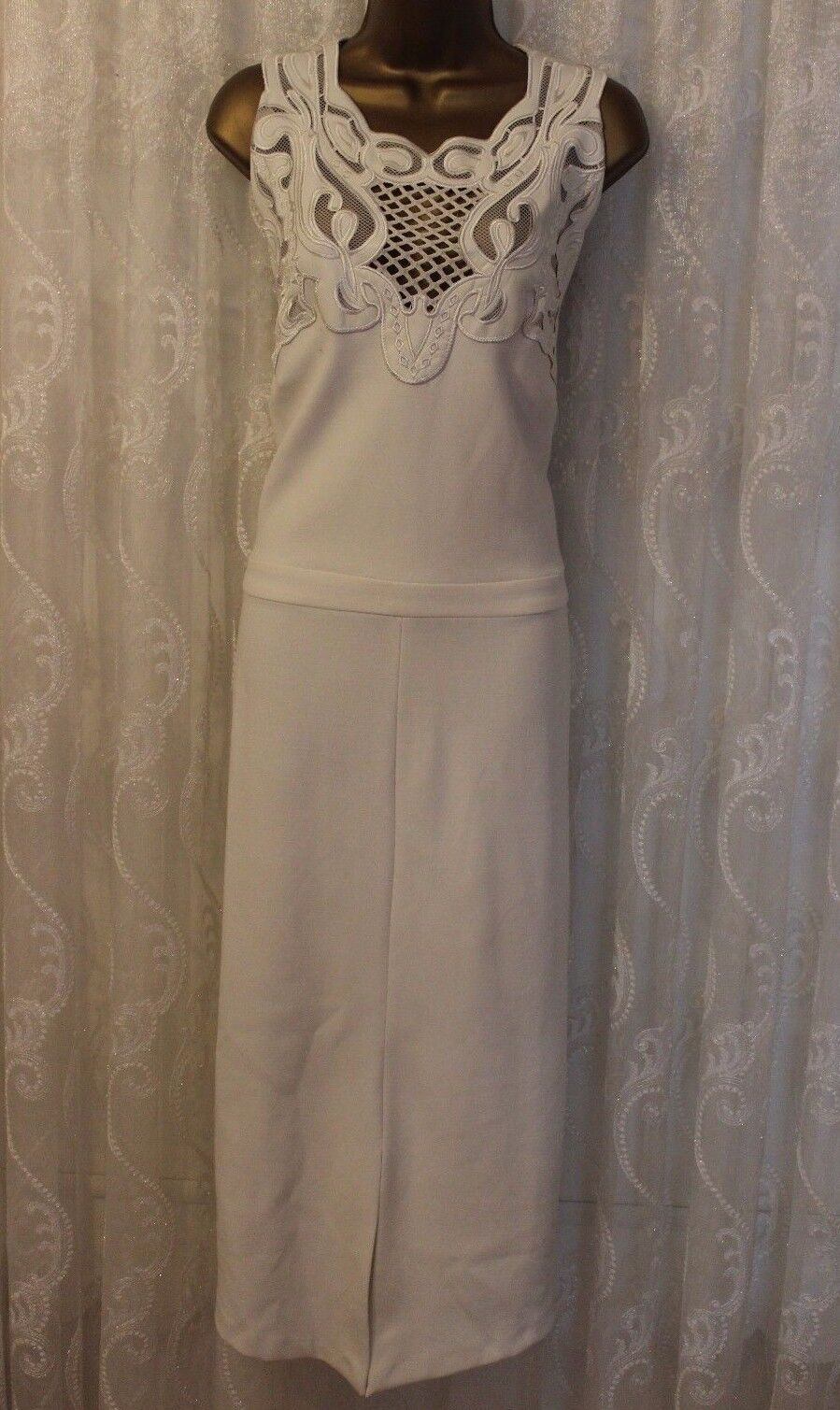 ASOS Lace Embroidery Mesh Scuba Pencil Ivory Midi Wedding Party Dress 8 to 18