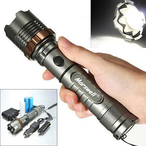 5000LM-LED-Flashlight-Focus-Torch-Rechargeable-w-2Pcs-18650-Battery-and-Charger