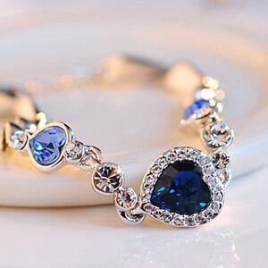 Damen-Silber-Blau-Kristall-Herz-Strass-Armreif-Armband-Armschmuck-neu