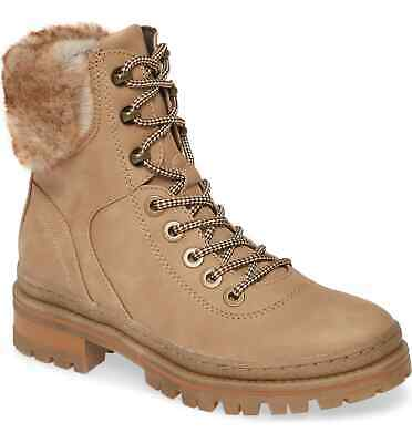 STEVE MADDEN RESA Faux Sherling Black Suede Combat Ankle Boots ~ NWOB