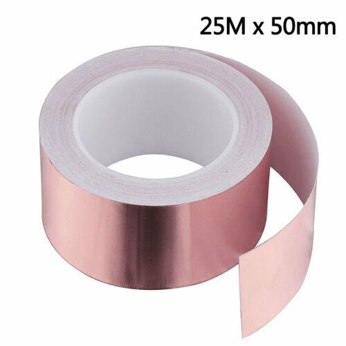 25M x 50mm Kupferband Kupferfolie Klebeband Selbstklebend Abschirm Schneckenband