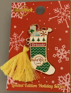 Hard-Rock-Cafe-ORLANDO-2020-CHRISTMAS-Holiday-Stocking-amp-Tassel-Series-PIN-New