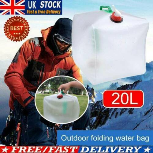 20L Water Carrier Containers Foldable Collapsible With Bottles Camping Tap UK