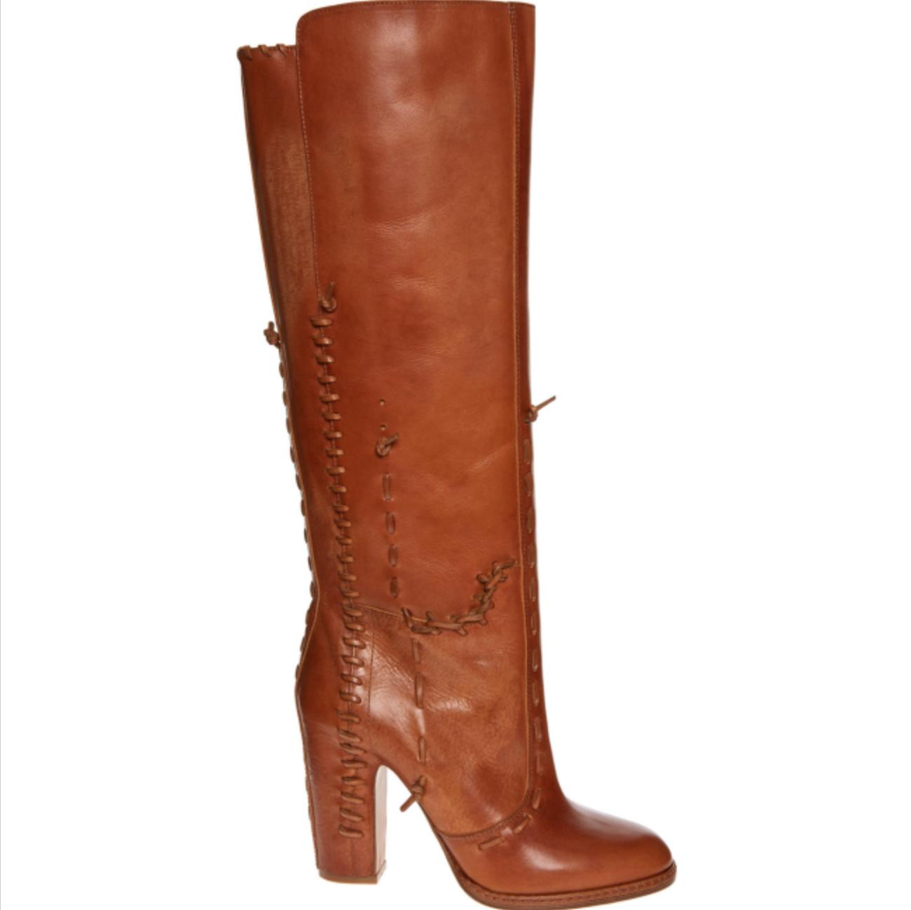 MAISON MARTIN MARGIELA Tall Leather Stiefel With Leather Stitch Detail UK 7 EU 40    Lass unsere Waren in die Welt gehen