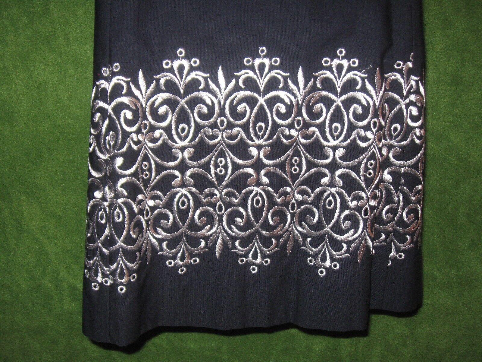 Ann Taylor Taylor Taylor Navy bluee White Embroidered Cotton Strapless Summer Dress 10  129 f5e0a8