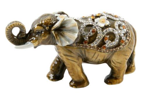 NEW Daisy Summer Elephant Trinket Box Enamel Gift Ornament Small Animal Figurine