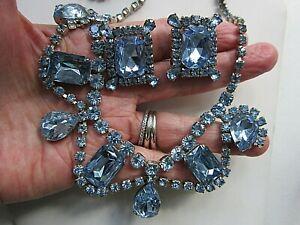 Vintage-Blue-Rhinestone-NECKLACE-EARRING-SET-Large-Prong-Set-Stones-Silver-Tone