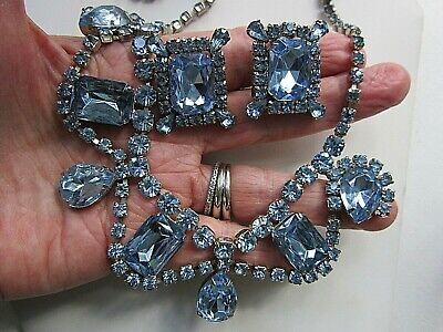 Vintage Rhinestone Necklace and Line Bracelet Choker Rhinestone with Faux Emerald 15.75 Long Rhinestone Line Bracelet 7 long