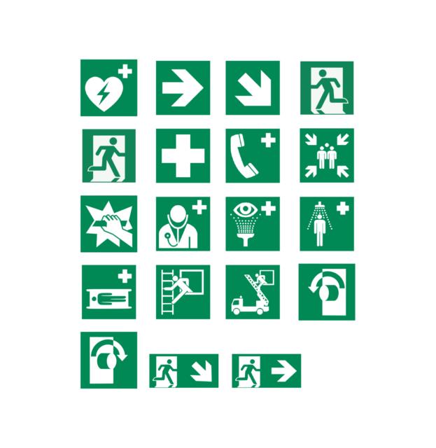 Sicherheitszeichen Rettungszeichen Erste Hilfe ISO 7010 Folie Schild 15x15cm