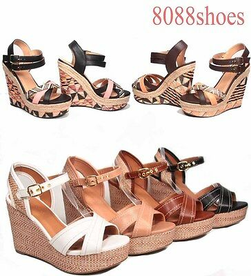 Women's Strappy Buckle Slingback Open Toe Wedge Platform Heel Shoes 5.5 - 11 NEW