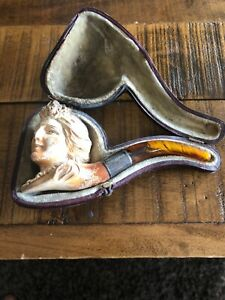 ANTIQUE-VINTAGE-English-1800-039-S-MEERSCHAUM-BEAUTIFUL-VICTORIAN-LADY