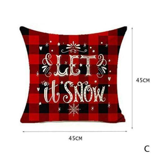 45 O3T2 Merry Christmas Xmas Gift Plaid Throw Pillowcase Cover 45cm Cushion