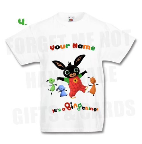 Bing Bunny Personalised T Shirt 4 designs Flop all sizes any name Kids /& Adults