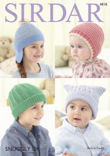 Sirdar 4818 Knitting Pattern Baby Childrens Hats in Sirdar Snuggly DK