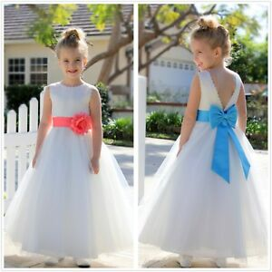 bee73dcd73 V-Back Lace Edge Ivory Flower Girl Dress Communion Dress Toddler ...