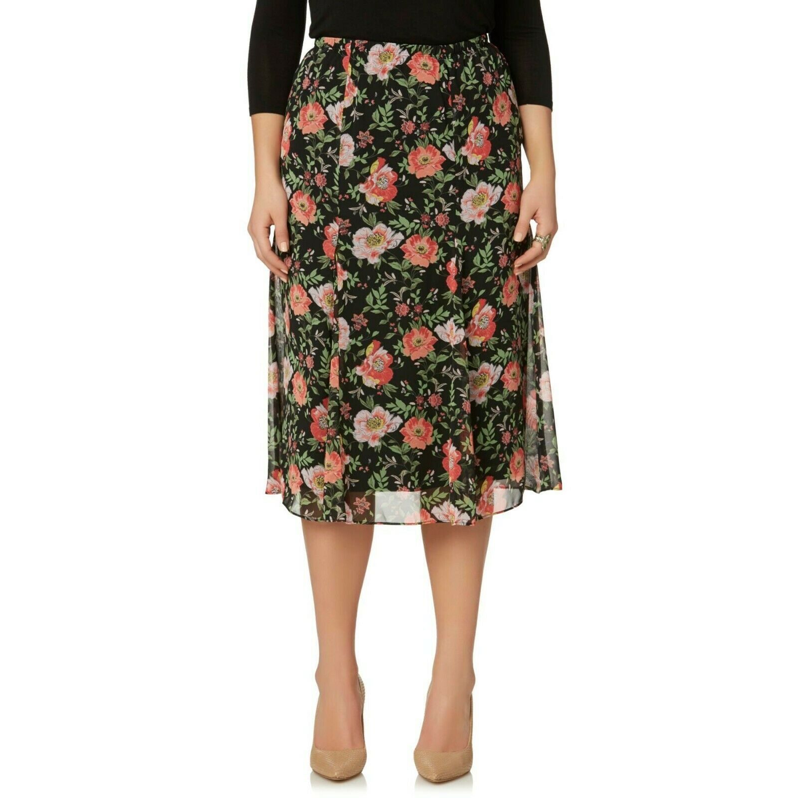 Ladiies  Skirt Mid Calf  orange Floral Size 2X New