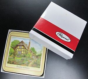 """VINTAGE PIMPERNEL SET OF 6 COASTERS """"ENGLISH COTTAGES"""" MINT IN BOX W/PAPERWORK"""