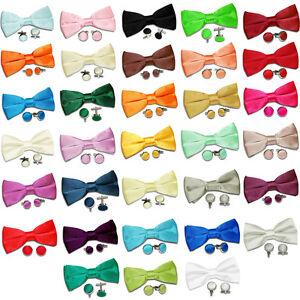 DQT-Premium-Satin-Solid-Plain-Casual-Pre-tied-hommes-Bow-cravate-et-boutons-de-manchette-Set