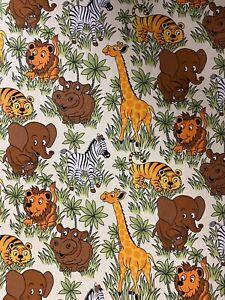 Black White Safari Animals Cotton Canvas Heavy Duty Upholstery Fabric Half Metre