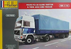 Heller-1-32-Volvo-F12-20-Globe-Trotter-amp-Twin-Axle-Semi-Trailer-81703