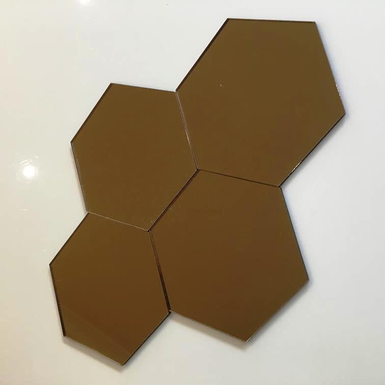 Bronze MirrGoldt Acrylic Hexagon Crafting Mosaic Wall Tiles Größes 1-20cm 1 -7.9