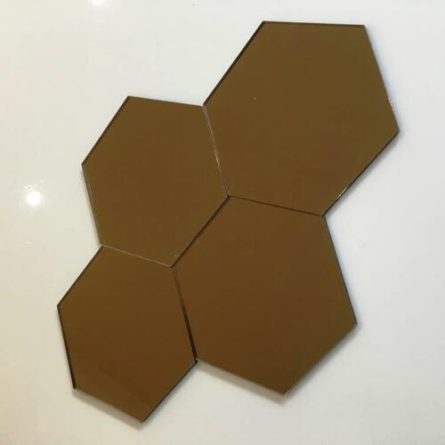 "Bronze Mirrored Acrylic Hexagon Crafting Mosaic//Wall Tiles Sizes 1-20cm 1/""-7.9/"""