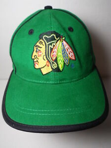 Vintage-1990s-CHICAGO-BLACKHAWKS-LOGO-NHL-National-Hockey-League-GREEN-HAT-CAP