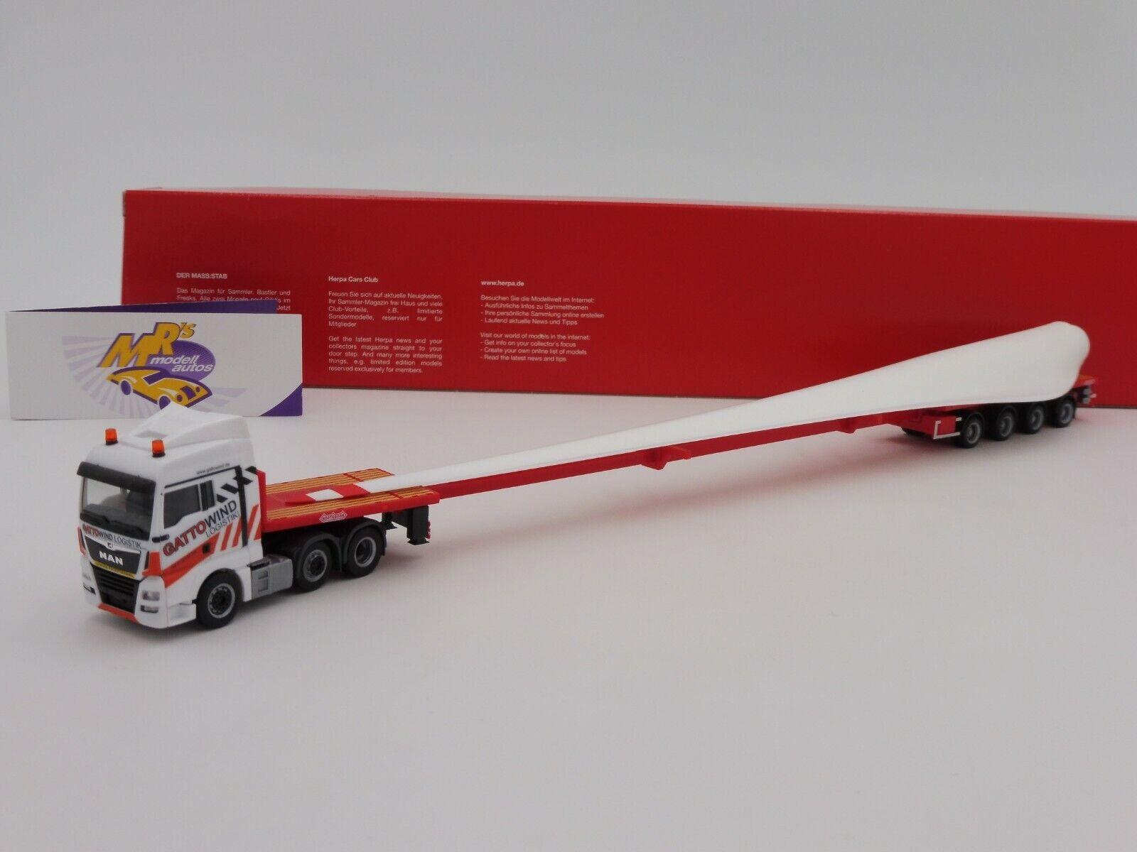 Herpa 31062 MAN TGX XLX Teletrailer-SZ mit Windradflügel   Gatto Wind   1 87