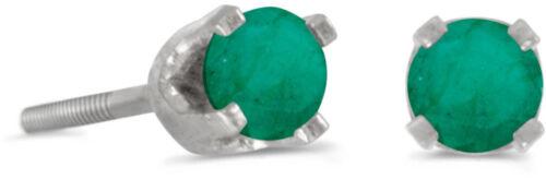 14k White Gold Round Emerald Screw-back Stud Earrings