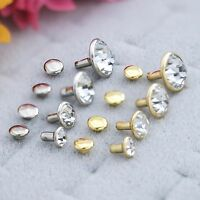 Rhinestone Rivets,brass With Backing,gold & Silver Trim, Stone Is Crystal Color,