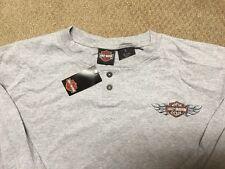 Harley Davidson Bar and Shield Gray long sleeve Henley Shirt Nwt Men's Large