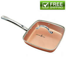 NEW Copper Chef 9.5 Inch Square Deep Frying Pan Set Lid Kitchen Cookware Gift